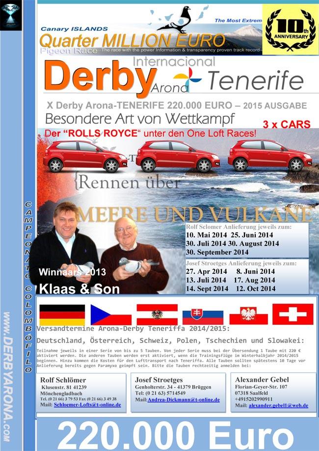 Derby Internacional Arona-Tenerife Pigeon Race 2015