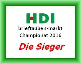 Die Gewinner des HDI brieftauben-markt Championats 2016...